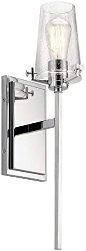 """2021 Kichler popular 45295CH 22"""" Clear Seeded Wall Sconce sale in Chrome online sale"""