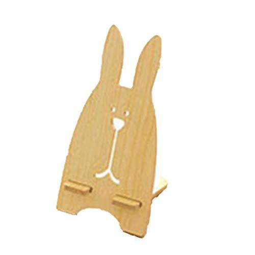 Rouku Telefonständer Niedlich Cartoon Kaninchen Desktop Mode Holz Mobile Halterung Universal Telefon Tablet Halter