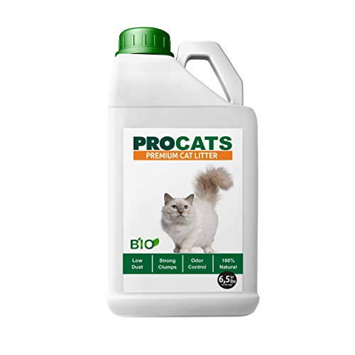 PROcats Premium Cat Litter - 100% ALL NATURAL and BIODEGRADABLE; Super Clumping Cat Litter; Unscented Eco-Friendly Kitty Litter Monitors Health Problems; Effective Odor Control and Low Dust; Multi-cat (Misc.)