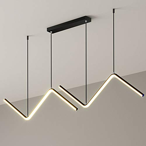Araña LED Regulable Lámpara Colgante Sencillez Moderno Negra, Luces Comedor Ajustable Altura, Luz Mesa de Comedor con Mando a Distancia, Lámpara de Salón Fabricada en Metal y Gel de Sílice, 26W, L90cm