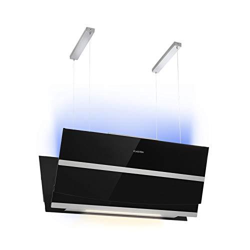 Klarstein Prism Deluxe Extractor de humo - Campana extractora en isla, Ecológica, Eficiencia energética A, 720m³/h, Control táctil, Pantalla LCD, Iluminación LED, absorve y ventila, Negro