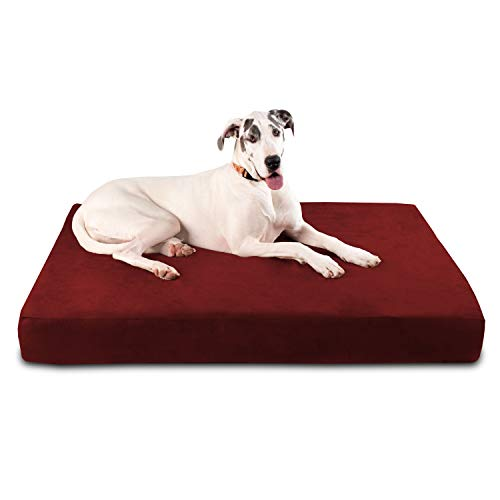 """Big Barker 7"""" Pillow Top Orthopedic Dog Bed - Giant Size - 60 X 48 X 7 Inches - Burgundy - For Large and Extra Large Breed Dogs (Sleek Edition)"""