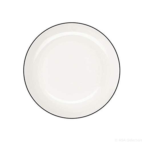 ASA ligne noire Assiette à dessert ligne noire, Porcelaine fine, blanc chaud, Ø 14,5 cm, 1906113