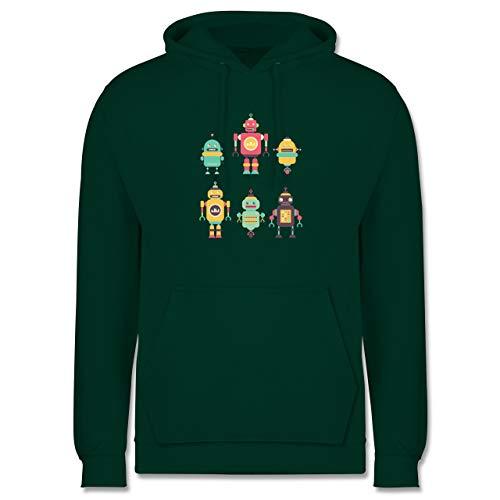 Shirtracer Nerds & Geeks - Bunte Roboter - L - Dunkelgrün - Roboter Pullover Herren - JH001 - Herren Hoodie und Kapuzenpullover für Männer