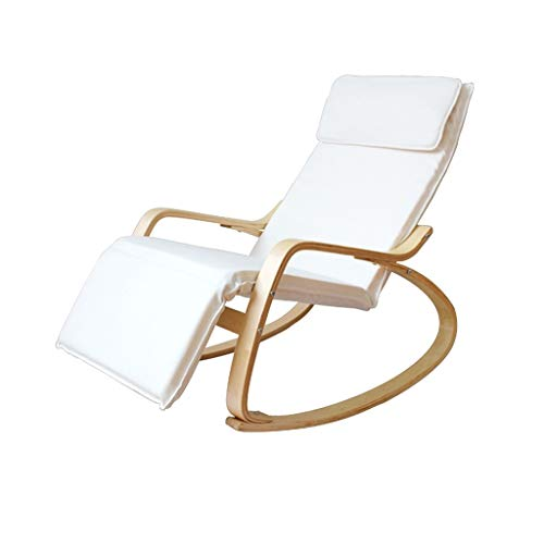 CAOYU Chaises Longues, fauteuils de Loisirs, chaises de Sieste, chaises Longues à Bascule en Bois Massif Nordique (Couleur : Blanc)