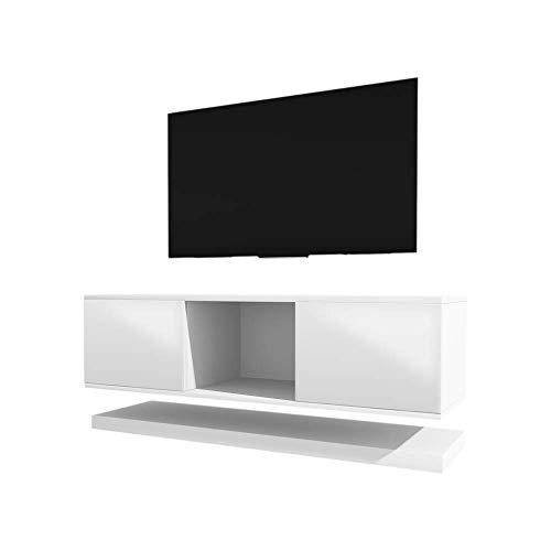 Selsey Wizz- Meuble TV Moderne Blanc, 140 cm