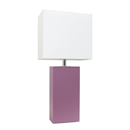 "Elegant Designs LT1025-PRP Modern Leather White Fabric Shade Table Lamp, 3.85"", Purple"