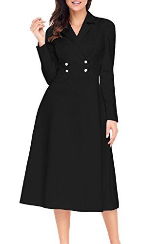 Alvaq Women Wrap Swing Graduation Midi Dress Long Sleeve Formal Work 1920s Fit And Flare Ladies Dresses  Black X-Large