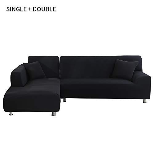 laamei' Funda de Sofa Elástica Chaise Longue Brazo Largo Derecho Funda Cubre Sofá Modelo Acolchado Diseñada de Forma L 2 Piezas Protector para Sofá de Poliéster y Spandex Color Sólido
