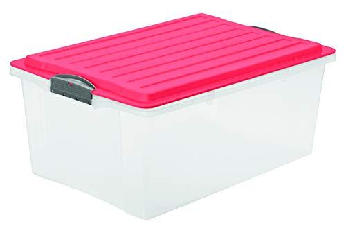Rotho Eco Compact Aufbewahrungsbox 38l - 57 x 40 x 25 cm - transparent/coral