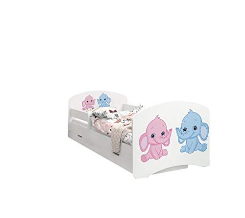 Happy Babies - LIT D'ENFANT DOUBLE FACE AVEC TIROIR Design moderne avec bords sécurisés et matelas en mousse antichute 7 cm (49. Éléphant rose et Bleu, 190x90)