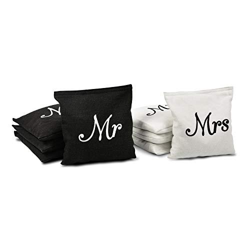 GoSports Wedding Theme Cornhole Bean Bag Set | Set of 8 Includes 4 Black 'Mr' Bags & 4 White 'Mrs' Bags