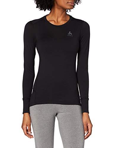 Odlo Suw Top Crew Neck L/S Natural 100% Merin Camiseta, Mujer, Black - Black, S