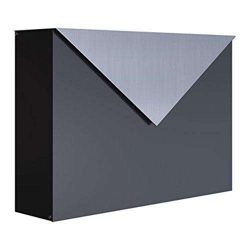 Briefkasten, Design Wandbriefkasten Letter Schwarz/Edelstahl - Bravios