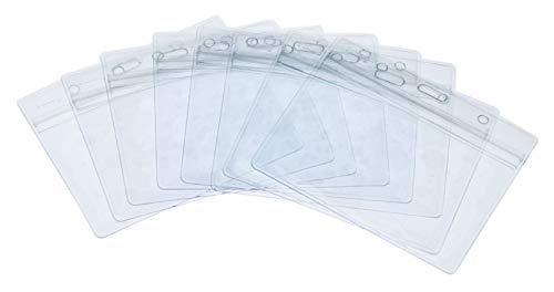 Porte-Badge,50 Paquet Transparent Support de Badge Imperméable Plastique Porte-Cartes Horizontaux avec Grip Seal pour Affaires Exposure Bureau 100x82mm