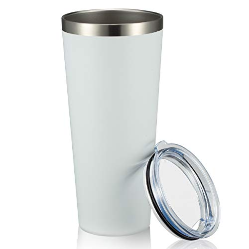 MEWAY 30oz Tumbler Double Wall Stainless Steel Vacuum Insulated Travel Mug with Lid, Insulated Coffee Thermos Cup Leakproof tumblers Mug (White, 1)