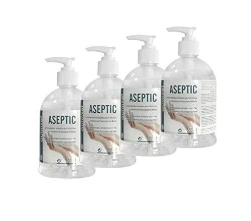 Gel Hidroalcohólico Antiséptico | Autorizado por AEMPS | Indicado para desinfección de piel sana | <70% de Alcohol | Pack 4 uds. | 500ml