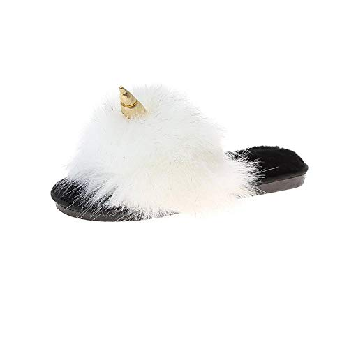 Zapatos de algodón de Felpa para Interiores con Fondo Grueso,Zapatos caseros de pelo largo, zapatos de invierno creativos para mujer-Beige_37,Zapatos de Cachemira de Conejo de imitación cálida de Fon