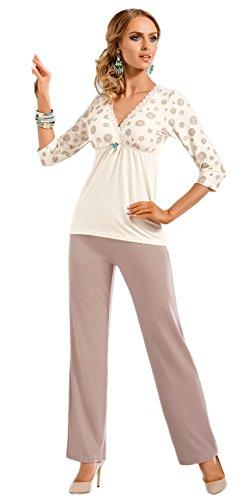 Donna Fantastico pigiama a 2 pezzi in viscosa con splendido scollo a V, incartato in una splendida confezione regalo, écru/cappuccino, S (40/42)