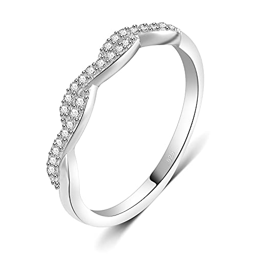 BORUO 925 Sterling Silver Ring, Twisted Infinity Celtic Knot Cubic Zirconia CZ Wedding Band Stackable Ring Size 9