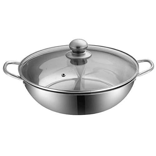 DYB Hot Pot Mandarin Ententopf 2 Grid 2 Geschmack Edelstahl Hot Pot mit Glasdeckel Professionelle Küchengeräte 28cm