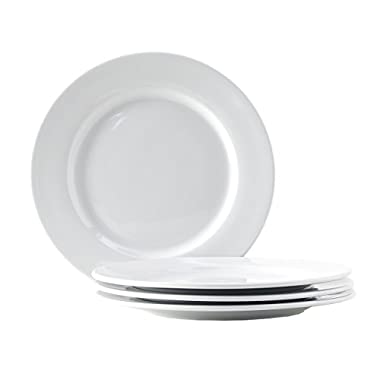 Tuxton Home Alaska Porcelain White 10-1/2  Wide Rim Dinner Plate - Set of 4; Heavy Duty; Chip Resistant; Lead and Cadmium Free; Freezer to Oven Safe up to 500F