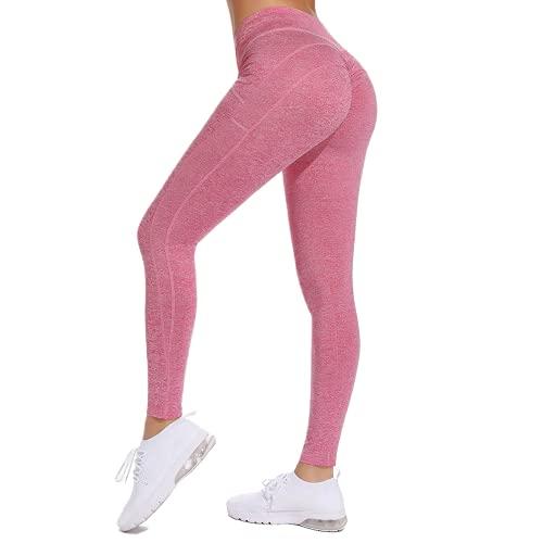 QTJY Pantalones de Yoga sin Costuras de Cintura Alta Leggings Push-up Deportes Mujeres Fitness Correr Pantalones de Yoga Stretch Fitness Leggings CS