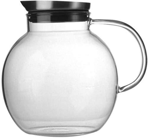 GAOYINMEI Tetera Tetera de 1,8 l/litro Jarra con la Tapa de Cristal Jug - 100% BPA Vino Divisor Helado Caldera de té con el Vidrio del jarro de Limonada/Bebida fría/Hielo Dispensador de Agua