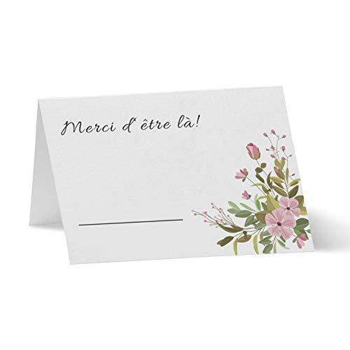 Partycards Marque Place pour Mariage, Baptême, Anniversaire, Noel   Porte Nom de Table en Papier - 50 Cartes Porte Prénom, A7 (Modèle :Bouquet)
