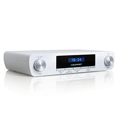 Blaupunkt KRD 30, Bluetooth Küchenradio mit DAB+, Unterbau Radio, DAB Plus, UKW PLL, Multidisplay, Senderspeicher, Digitalradio mit Uhr, LED Licht, 2 Back Timer, Werkstatt Unterschrank Radio, weiß