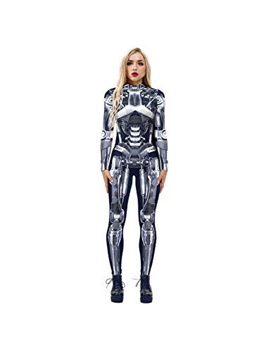 Leezeshaw Disfraz de esqueleto robots para mujer, disfraz de Halloween 3D, esqueleto de esqueleto de lycra Unitard para mujer, S-XL