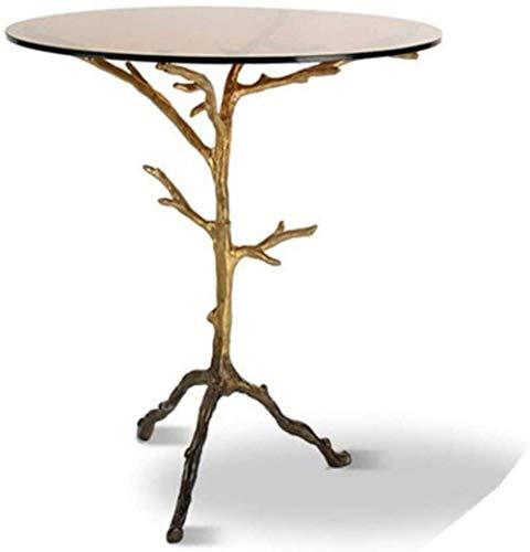 Life Equipment Table basse Retro Twigs Table d'appoint Table d'appoint en verre Table basse ronde Snack Bureau d'ordinateur portable dans le salon pour le travail d'écriture Mobilier de bureau Tabl