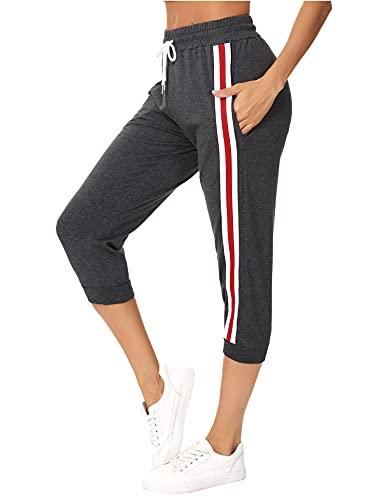 Sykooria Jogging Femme d'Été Pantalon Sport Femme Taille Haute Femme 3/4 Pantalon de Survêtement Femme Décontracté(K-Gris1,L)