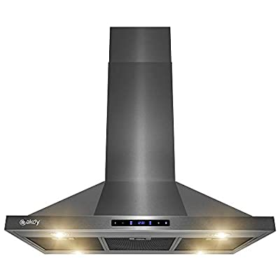AKDY Island Mount Range Hood - Black Stainless Steel Hood for Kitchen – 3 Speed Professional Quiet Motor - Premium Touch Control Panel - Minimalist Design (36 in.)