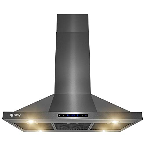 AKDY Island Mount Range Hood - Black Stainless Steel Hood for Kitchen – 3 Speed Professional Quiet Motor - Premium Touch Control Panel