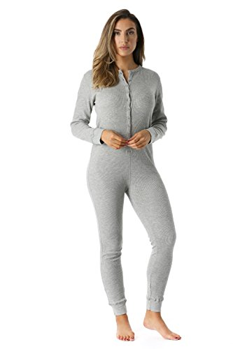 6363-GRY-XS #FollowMe Women's Solid Thermal Henley Onesie, Grey, X-Small