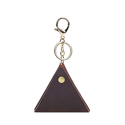 Creativo Mini Llavero Monedero de Cuero pequeño triángulo marrón Bolsa de Almacenamiento Colgante Billetera Llavero