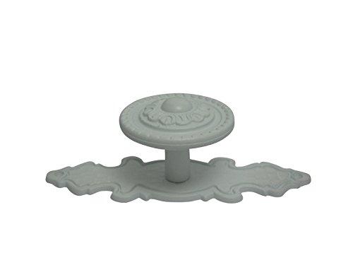 2 x Möbelknöpfe Schrankgriffe Küchengriffe Griff Knopf weiß Landhaus mit Schild