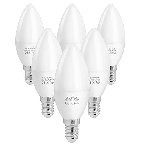 WELLHOME E14 LED Kaltweiß Kerze Lampe, 4W C37 Kerzenform Glühbirnen Ersetzt 40W Halogenlampe, 5000K Kerzen Leuchtmittel Birnen Nitch Dimmbar 400 Lumens 230V, 6er Pack
