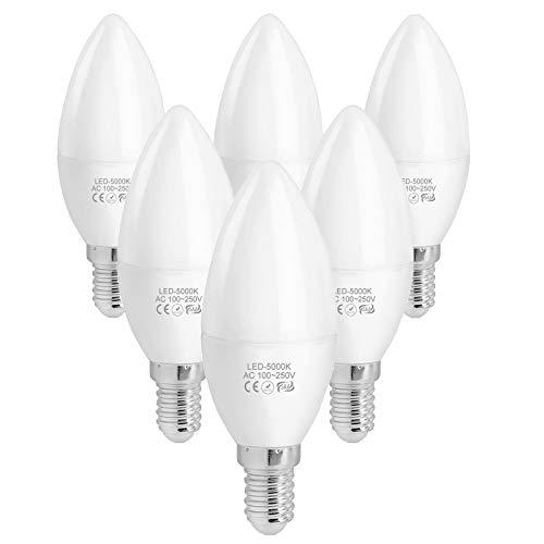 WELLHOME NCC-Licht - Bombilla led (casquillo E14, 4 W, C37, forma de vela, equivalente a una bombilla halógena de 40 W, 5000 K, intensidad regulable, 400 lúmenes, 230 V, 6 unidades)