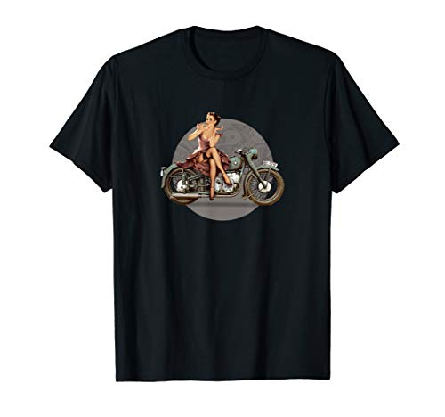 Pin-up girl 1940s motorcycle retro poster WWII T-Shirt