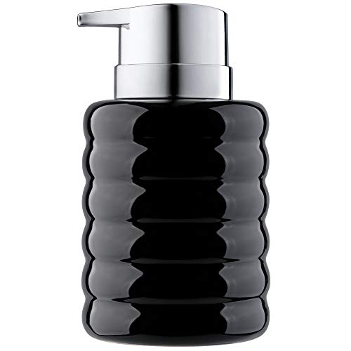 KADAX Seifenspender aus Keramik, nachfüllbarer Seifendosierer, Flüssigseifen-Spender mit Pumpe aus Kunststoff, Lotionspender für Bad, 8,5 x 8,5 x 13,5 cm, Spülmittel-Spender (schwarz)