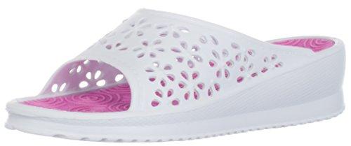 BRANDSSELLER Damen - Pantolette/Sandalette/Badeschuh/Freizeitschuh - Farbe: Weiß/Pink - Größe: 36