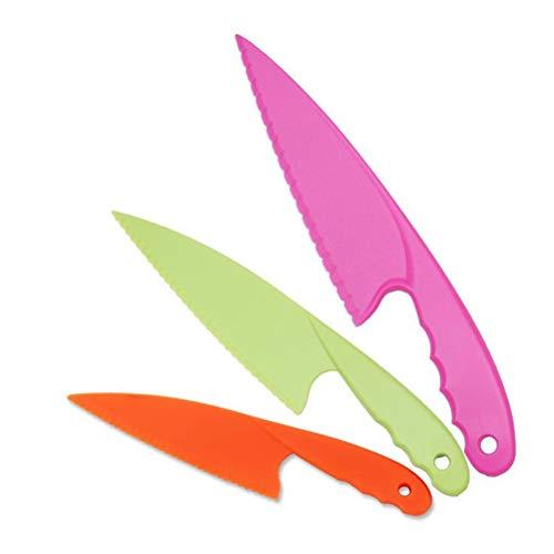 Cuchillos de Cocina de Plástico,3 Pack Cuchillos de Cocina de Nailon Juego Cuchillos de Seguridad para Niños Cuchillo en 3 Tamaños para Pan Ensalada de Lechuga Fruta Sin BPA