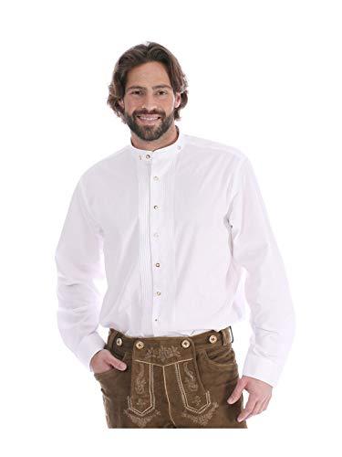 Almsach Trachtenhemd Pfoad Klassiker Stehkragen Bardo Weiss, L