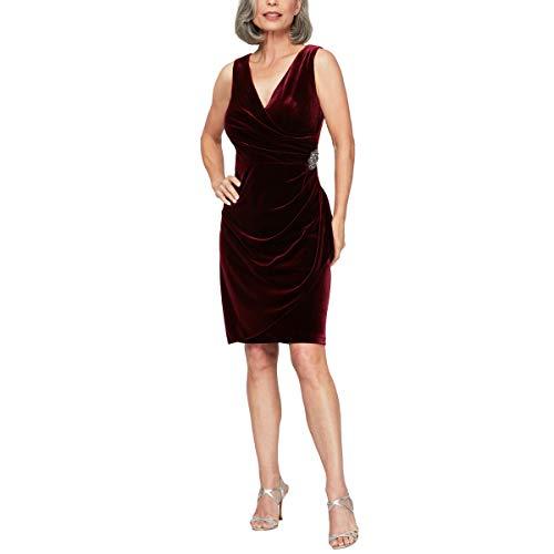 Alex Evenings Women's Short Sleeveless Velvet Dress (Petite and Regular Sizes), Wine...