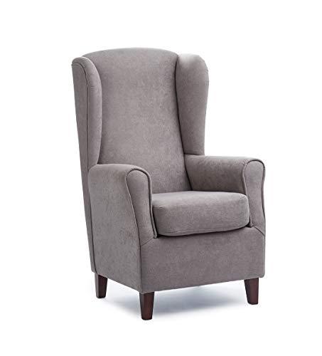 Sillón Butaca Orejera- Tela Anti-Manchas (Acualine), tamaño reducido para salón o Dormitorio. (Medidas : 103 * 74 * 78 cm.) para Ver la TV, Leer o Lactancia. (Respaldo Alto Gris)