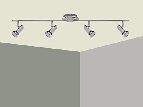 Trango 4-flammig 2001-048-5W LED Deckenleuchte *MAX* inkl. 4x 5 Watt GU10 LED Leuchtmittel in Chrom-Optik I Deckenlampe I Deckenstrahler I Deckenspots I Wohnzimmer Lampe schwenkbar und drehbar