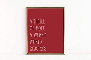 A Thrill of Hope, the Weary World Rejoices Christmas Printable, O Holy Night Print, Christmas Wall Art, O Holy Night Sign