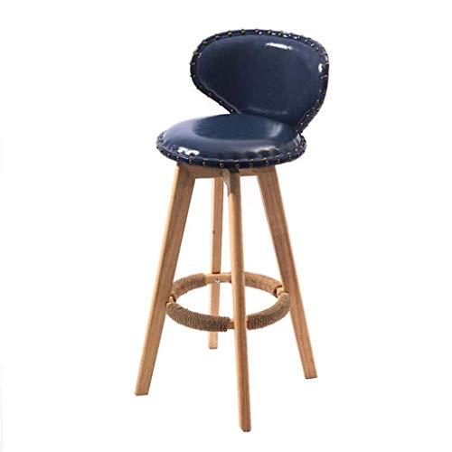 Zfggd Desayuno Contador de Cocina Taburetes PU Asiento de Cuero sillas de la Barra sólidas Patas de Madera taburetes Gris Oscuro taburetes Altos